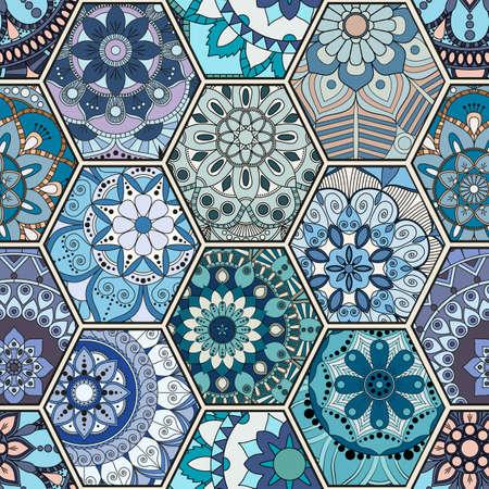 Luxury oriental tile seamless pattern. Colorful floral patchwork background. Mandala boho chic style. Rich flower ornament. Hexagon design elements. Portuguese moroccan motif. Unusual flourish print.