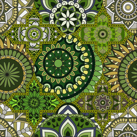 Patchwork pattern. Vintage decorative elements. Hand drawn background. Arabic, Indian, ottoman motifs. Perfect for printing on fabric or paper. Ilustrace