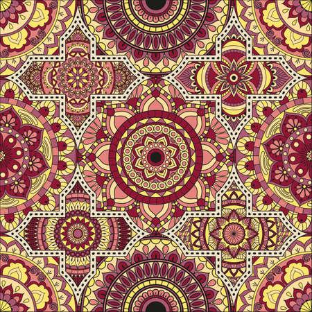 パッチワーク パターン。ヴィンテージの装飾的な要素。手描きの背景。イスラム教、アラビア語、インド、オスマンのモチーフ。布や紙での印刷に  イラスト・ベクター素材