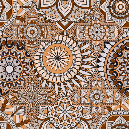 Patchwork pattern. Vintage decorative elements. Hand drawn background. Arabic, Indian, ottoman motifs. Perfect for printing on fabric or paper. 向量圖像