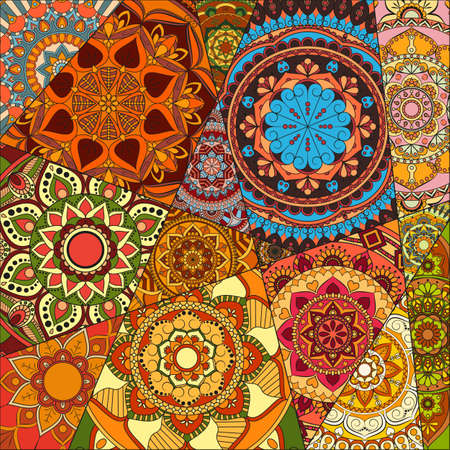 pattern with mandalas. Vintage decorative elements. Hand drawn background. Islam, Arabic, Indian, ottoman motifs.