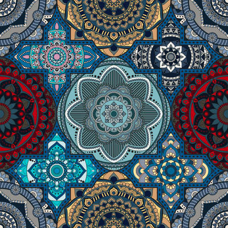 Patchwork pattern. Vintage decorative elements. Hand drawn background. Islam, Arabic, Indian, ottoman motifs. Perfect for printing on fabric or paper. Иллюстрация