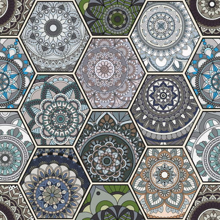 Luxury oriental tile seamless pattern. Colorful floral patchwork background. Mandala boho chic style. Rich flower ornament. Hexagon design elements. Portuguese moroccan motif. Unusual flourish print.