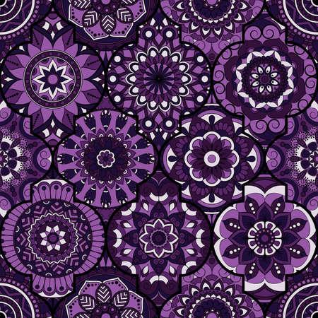 Motif sans couture. Éléments décoratifs vintage. Contexte dessiné à la main. Islam, arabe, indien, motifs ottomans. Parfait pour imprimer sur du tissu ou du papier. Vecteurs