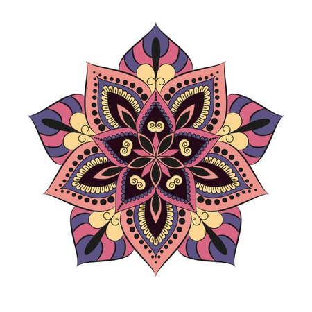 꽃 만다라. 빈티지 장식 요소입니다. 동양 패턴, 벡터 일러스트 레이 션입니다. 이슬람교, 아랍어, 인도어, 터키어, 파키스탄어, 중국어, 오스만의 모티 일러스트