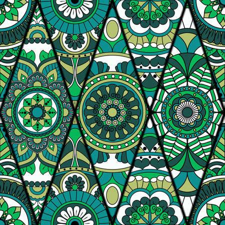 Naadloos patroon. Vintage decoratieve elementen. Hand getekende achtergrond. Islam, Arabisch, Indisch, Ottomaanse motieven. Perfect voor druk op stof of papier. Stock Illustratie