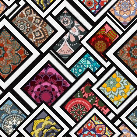 Piastrella senza soluzione di continuità con mandalas. Elementi decorativi d'epoca. Sfondo disegnato a mano. Islam, arabo, indiano, motivi ottomani. Perfetto per la stampa su tessuto o carta. Archivio Fotografico - 89122313