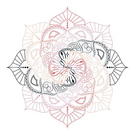 Bloem Mandala. Vintage decoratieve elementen. Oosters patroon, vectorillustratie. Islam, Arabisch, Indiaas, Marokkaans, Spanje, Turks, Pakistans, Chinees, mystiek, Ottomaanse motieven. Kleurboekpagina Stock Illustratie