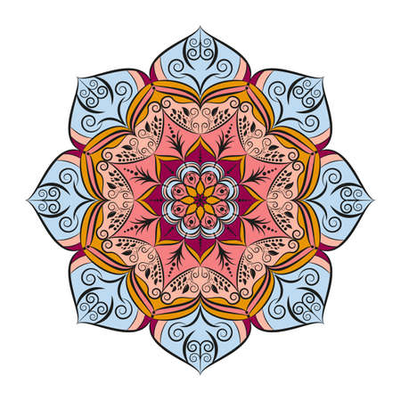Flower Mandala. Vintage decorative elements. Oriental pattern, vector illustration. Islam, Arabic, Indian, moroccan,spain, turkish, pakistan, chinese, mystic, ottoman motifs. Coloring book page