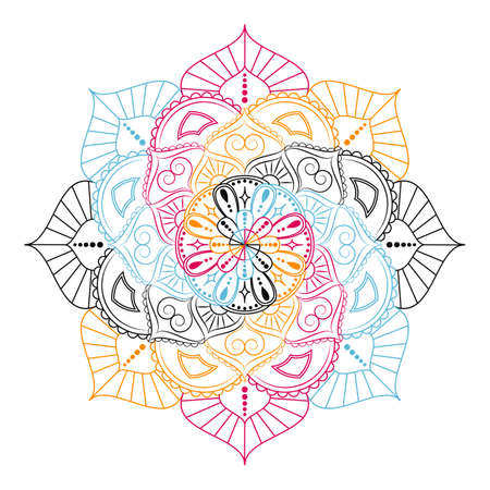 Flower Mandala. Vintage decorative elements. Oriental pattern, vector illustration. 矢量图像