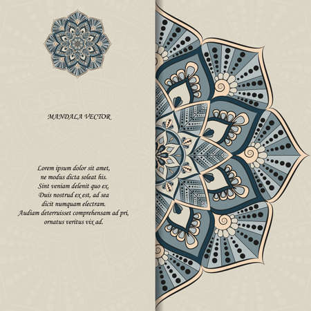 Indian style colorful ornate mandala card. Ornamental blank with ethnic motifs. Oriental graphic design concept. Paper brochure template. Иллюстрация