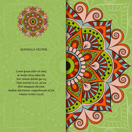 Indian style colorful ornate mandala card. Ornamental blank with ethnic motifs. Oriental graphic design concept.