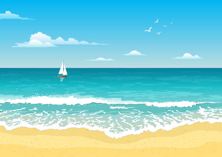 Seascape with waves, cloudy sky and seagulls. Yacht on the horizon. Tourism and traveling. Vector design