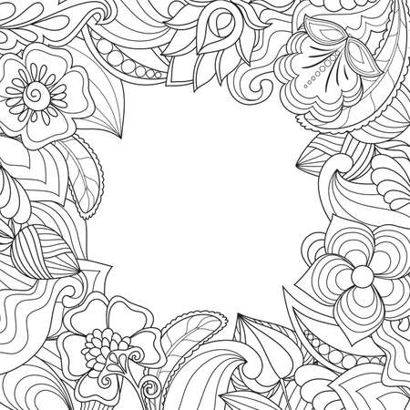 background with drawn flowers, plants for social media posts, banner, greeting card, cover, invitation. Natural template in trendy doodle style for holiday.