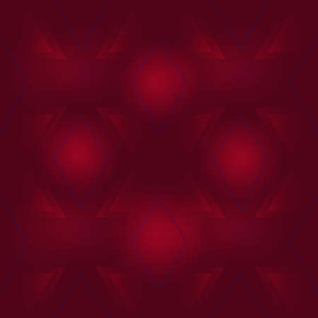 Mysterious red triangles and rhombus placed in a dark space with a red glow. Seamless pattern.