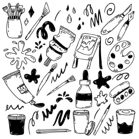 A set of artistic tools in the style of doodle.