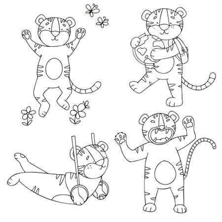 Vector set of tiger cubs in doodle style in different poses. Tigers are drawn with a line for coloring by children.