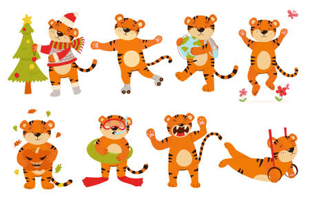 Vector set of tiger cubs in different poses. Tigers with a globe, pumpkin, on rollers, with a Christmas tree.