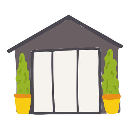 Vector cartoon gray house for kids. House for the design of children's banners and postcards.