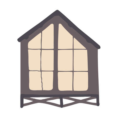Vector cartoon gray house for kids. House for the design of children's banners and postcards. Vettoriali