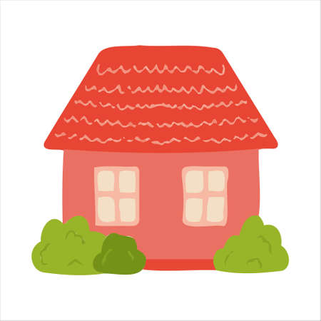 Vector cartoon pink house for kids. House for the design of children's banners and postcards.