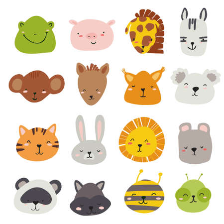 A set of vector faces of animals in bright colors for the design of children's rooms, patterns, cards.