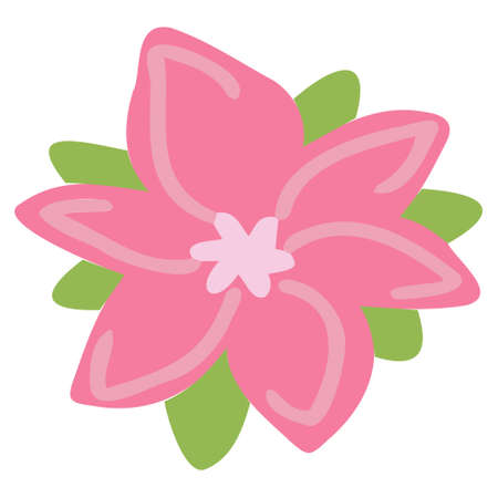 Vector pink flower of interesting shape with green petals. Flowers for the design of children's cards, banners, printing on fabric.