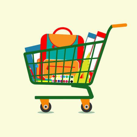 Fournitures scolaires dans un chariot de supermarché vert. Illustration vectorielle Vecteurs