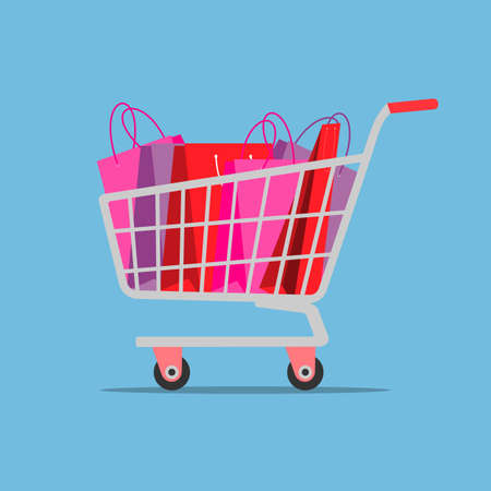 Shopping cart with gift bags. Vector illustration Illustration