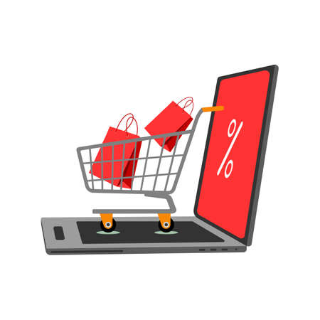 Internet discount concept with open laptop and trolley with red bags on white background.
