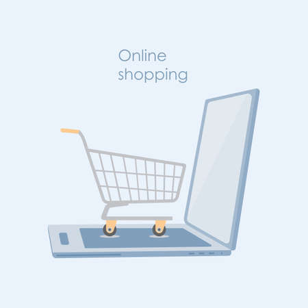 Concept of online shopping with an open laptop and a shopping cart . Illustration