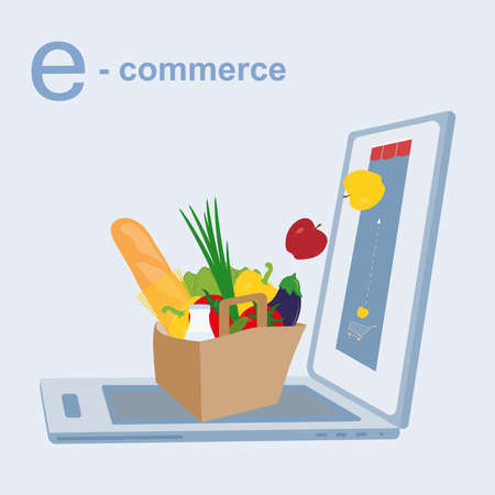 Online shopping or e-commerce concept. Opened laptop with the concept of online selling food. Illustration