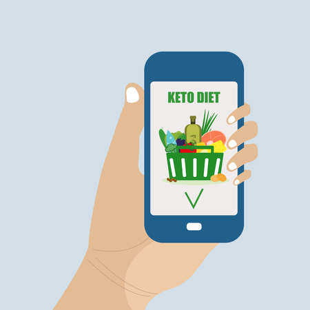 Keto diet in a mobile application. Keto food basket in flat style. Ketogenic dietary ingredients. Healthy concept.