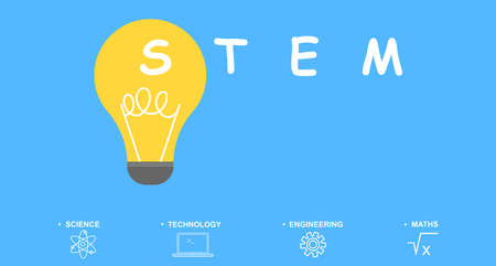 STEM education concept - science, technology, engineering and maths. Flat  illustration with words. Foto de archivo - 132021375