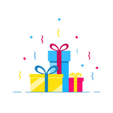 Colorfully packaged gift boxes. Lots of presents. Festive mood. Flat style vector illustration isolated on white background.