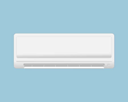 White air conditioner isolated on blue background. Illustration of electrical equipment in the house.