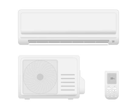 Air conditioner with cooling and ventilation equipment isolated on white background.