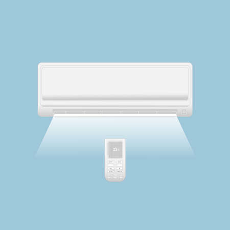 Split system air conditioner. Climate control. Air conditioning system with remote control and air flow on a blue background. 일러스트