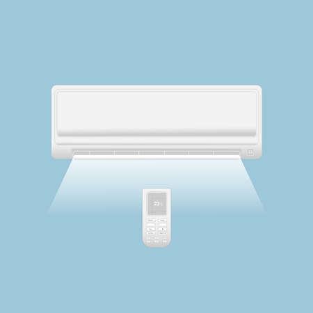 Split system air conditioner. Climate control. Air conditioning system with remote control and air flow on a blue background. Ilustração