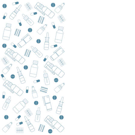 White medical background with pills, sprays, drops and place for your text.