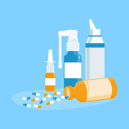 Medical concept. Nasal and throat sprays and an open can of pills. For colds, flu, cough medicine: sprays and drops in the nose, throat sprays on a blue background. Vector illustration in a flat style.