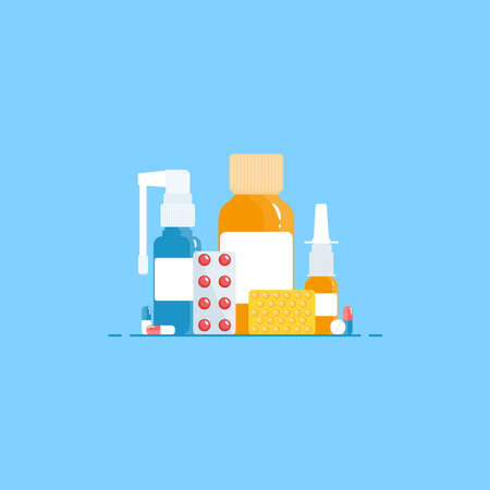 Medical concept. Cold, flu, cough preparations: medicinal syrup, nose spray, throat spray, pills, capsules on a blue background. Vector illustration in a flat style. Ilustração