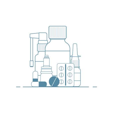 Medical concept. Cold, flu, cough medicines: medicinal syrup, nasal spray, throat spray, pills, capsules. Ilustração