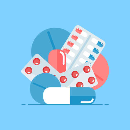 Medical pills. Medical icon. Set of pills, capsules on a blue background. Vector illustration.