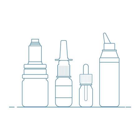 Medical concept. Cold, flu, cough medications: spray and nasal drops, throat spray. Ilustração