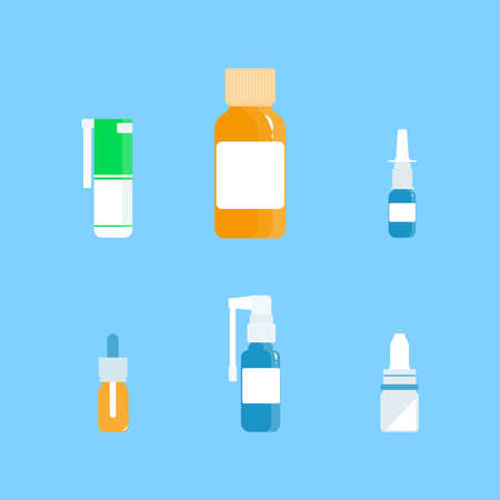 Medical concept. Cold, flu, cough preparations: spray and nose drops, throat spray on a blue background. Vector illustration in a flat style.
