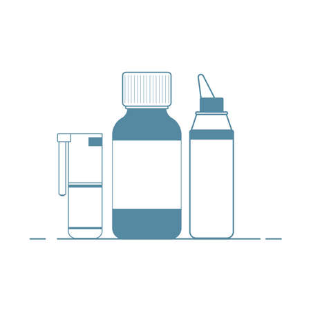 Medical concept. Cold, flu, cough medicines: medicinal syrup, nasal spray, throat spray.