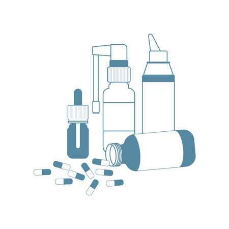 Medical concept. Cold, flu, cough medications: pills, spray and nose drops, throat spray.