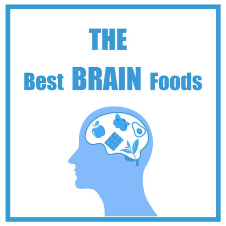 Best food for strong brain. Strong healthy brain character.  Isolated on white background. Health food, diet, products, nutrition, nutriment concept.