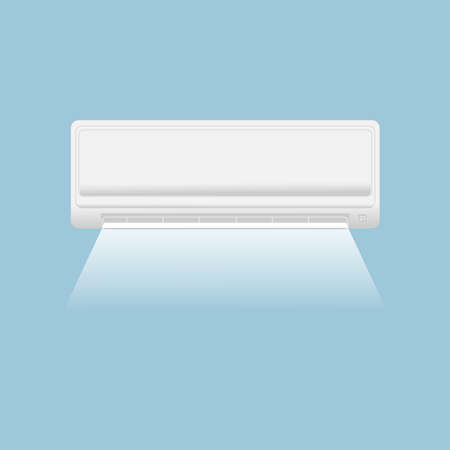 Split system air conditioner. Climate control. Air conditioning system with a stream of air on a blue background.